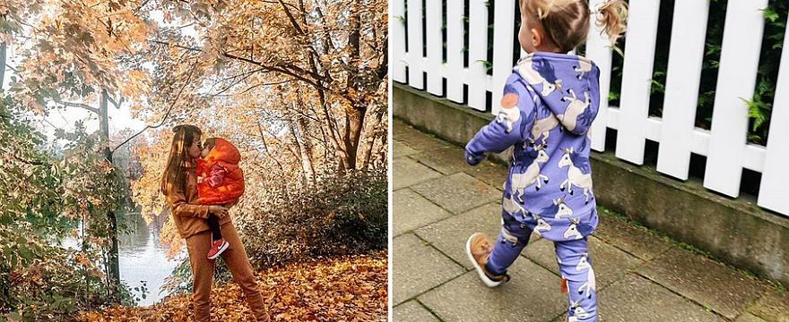 Klara Lewandowska w stylowym dresiku zmierza do przedszkola