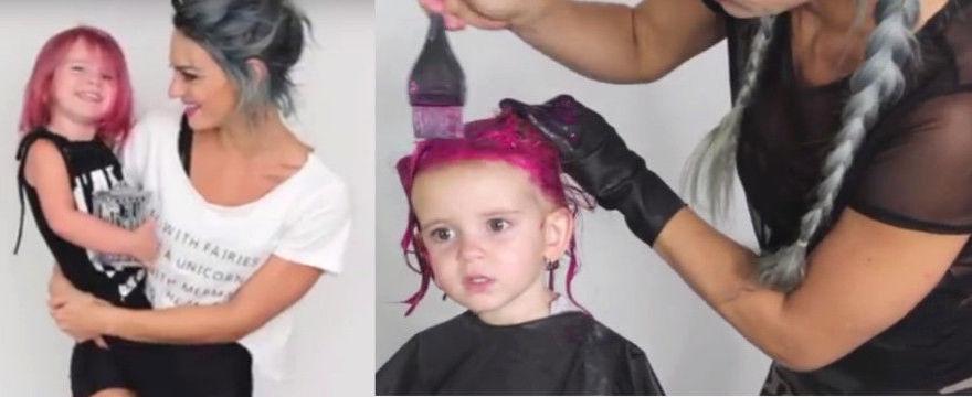 Pomalowała 2-letniej córce włosy na różowo - PRZESADA?