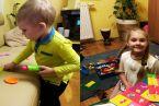 Dzieckiem fajnie być:) 2 letnia Helcia z 2-letnim Wojtusiem oraz 6-letnia Tosia z 9 letnim Wiktorkiem