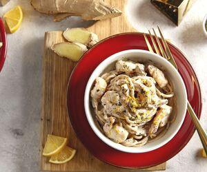 Spaghetti z krewetkami w sosie imbirowo-cytrynowym, 2 porcje: